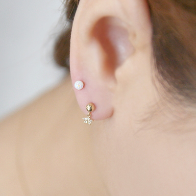 14k gold opal piercing Small 14K 골드귀걸이