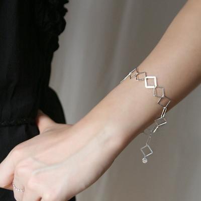 silver square chain bracelet
