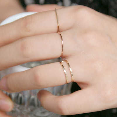 14k gold two line ring 14K 골드 반지