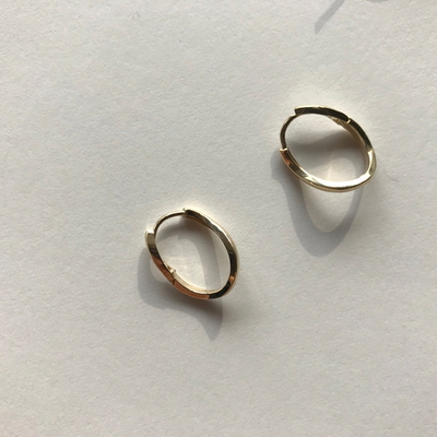 14k gold curve ring earring