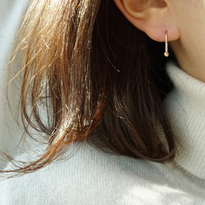 14k gold ball hook earring