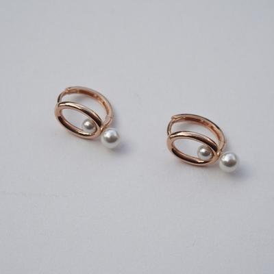 14k gold two pearl earring