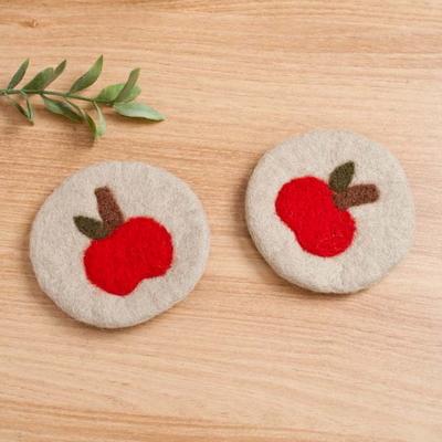 귀여운 사과 양모펠트 컵받침