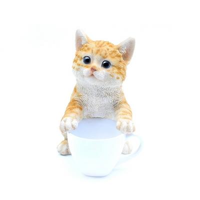 미니 머그컵 갈색 고양이 장식품