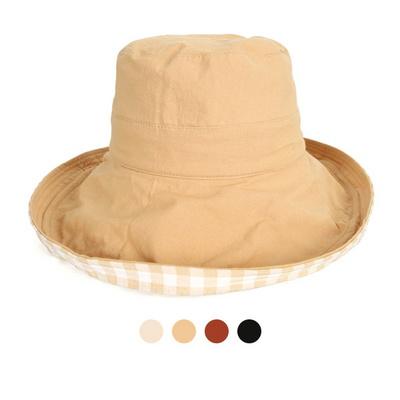 페미닌 이너체크 롱챙 플로피 햇 모자 JAN309