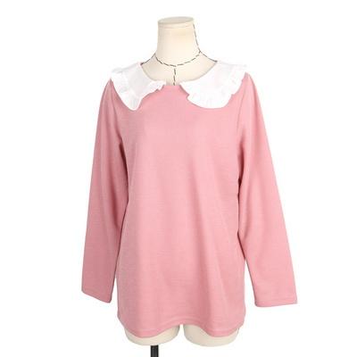 빅사이즈 둥근카라넥 배색 티셔츠 BRS535