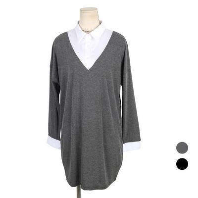 빅사이즈 레이어드 카라 롱 티셔츠 NCT-NB283