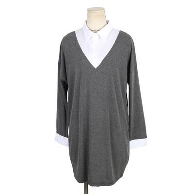 빅사이즈 레이어드 카라 롱 티셔츠 NB323