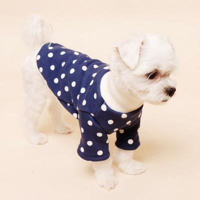 도트 패턴 시보리 폴라넥 강아지옷 티셔츠