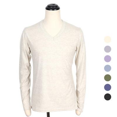 보카시 무지 긴팔 브이넥 티셔츠 COT-MZ173