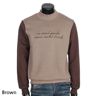 슬리브 배색 스크립트 기모 반폴라 티셔츠