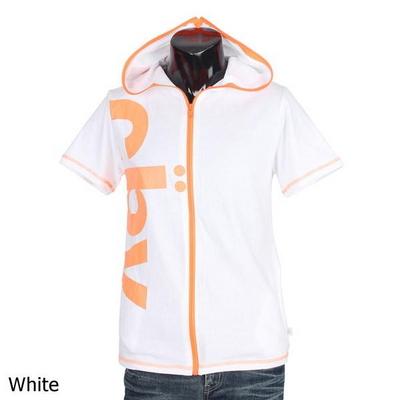 형광 레터링 집업 후드 반팔 티셔츠 MGB787N