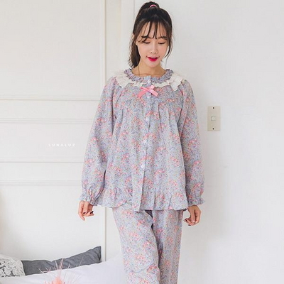 넥 이중프릴 플라워 투피스 여성잠옷 W264