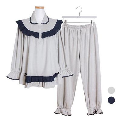 스웨이드 카라레이스 투피스 여성잠옷 W367