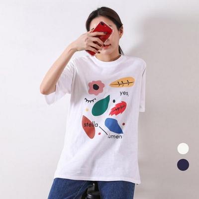 빅사이즈 페인팅 트임 티셔츠 lov376