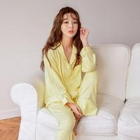 레몬 투피스 카라넥 스판 여성잠옷 W457