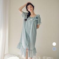 도트 순면 원피스 반소매 여성잠옷 W452