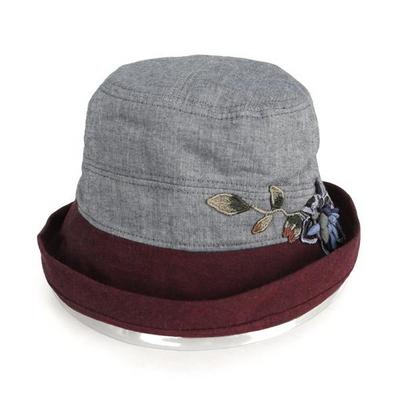 폴더 브림 배색 플라워 버킷햇 모자 AC411