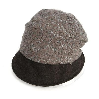 브림 배색 버킷햇 울 모자 AC413