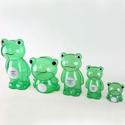 투명 저금통 녹색 개구리