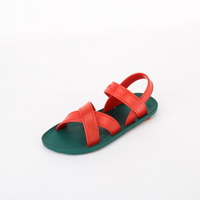 KIDS Cross Sandal, Green-Red