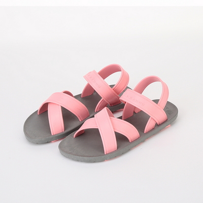 KIDS Cross Sandal, Gray-Light pink