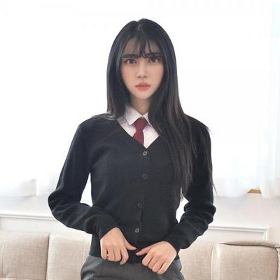 블랙 교복 가디건 여자