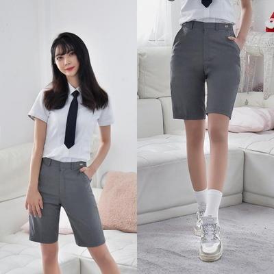 [빅사이즈]허리조절 연그레이 교복 반바지(여자) ~6XL