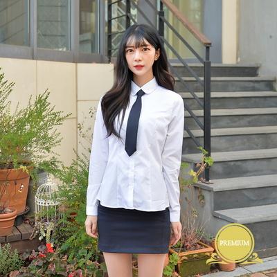 프리미엄 스판 여성 둥근카라 셔츠 (컬러체크)
