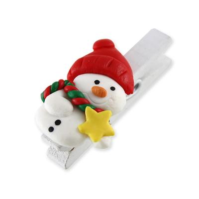 크리스마스소품  (클레이) 눈사람 집게