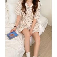 여성 데일리 여름 잠옷 세트 파자마 레츠 과일 반팔