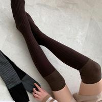 여성 여자 패션 양말 니삭스 골지 투톤 오버 10EA