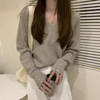 여성 가을 라운드 니트 반팔티 스웨터 브이넥 버튼