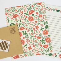 봄이랑 스탬프 패턴 편지지-플라워시즌