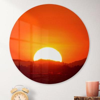 대형원형아크릴액자_새로운붉은태양