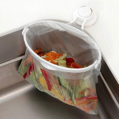 주방 싱크대 음식물 쓰레기 봉투 홀더 거치대 쓰레기통(본체 리필)