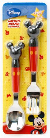 미키마우스 입체 스푼포크세트(미키 얼굴모양 스푼포크 세트) - 부비캣, 6,900원, 유아식기/용품, 수저/포크/젓가락