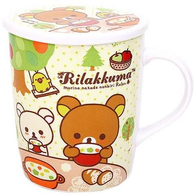 리락쿠마 뚜껑머그(귀여운 도자기제 머그)