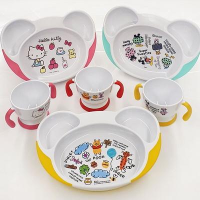 귀여운 캐릭터 베이비 식판 머그 컵(미키 키티 푸우)