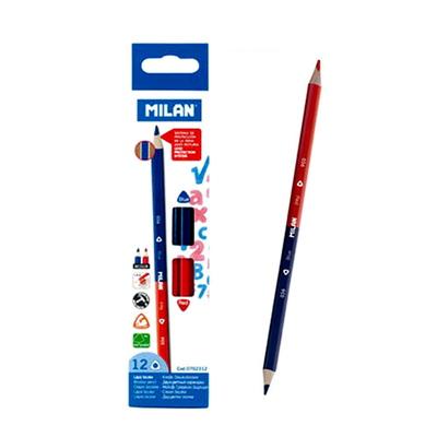 MILAN 밀란 레드+블루 삼각 색연필 (12개)