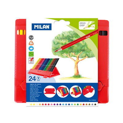 MILAN 밀란 PP박스 24색 삼각색연필 (레드박스)