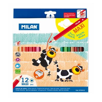 MILAN 밀란 12색 맥시 육각 색연필(+연필깎이)