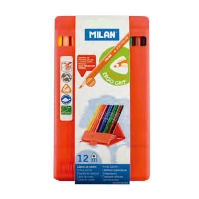 밀란 PP박스 12색 삼각 색연필
