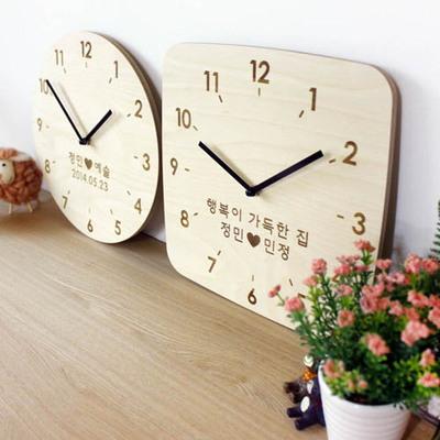 무소음 자작나무 이니셜 우드벽시계 땡글