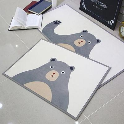 자체제작 곰 욕실매트 + 주방매트 set (그레이)