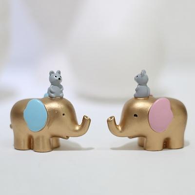 하트뿅뿅 미니 골드 코끼리 2P세트 2type