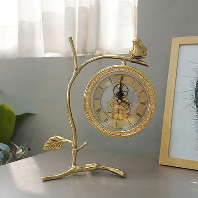 신주골드 나뭇가지 톱니 탁상시계