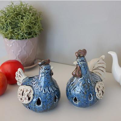 빈티지 블루 닭 캔들 2P