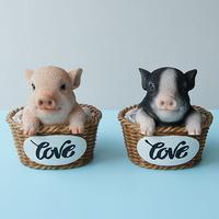라탄바구니 돼지 2color