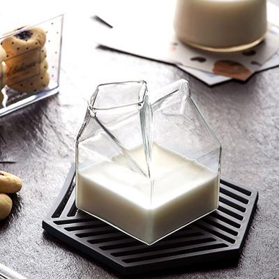파인트 우유 앵글 투명 글라스잔(milk)